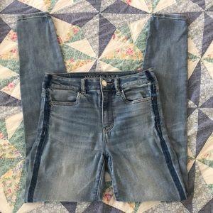 American Eagle stripe leg skinny jeans!!